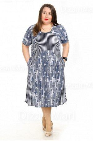 Платье 21005-1 в вертикальную полоску для повседневной носки