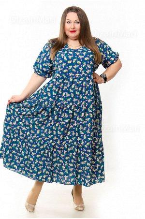 Платье 3271-28 для полных с цветочным принтом на синем фоне