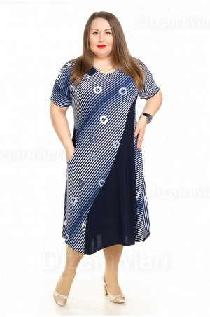 Платье 21002-1 в косую полоску с асимметричной ставкой