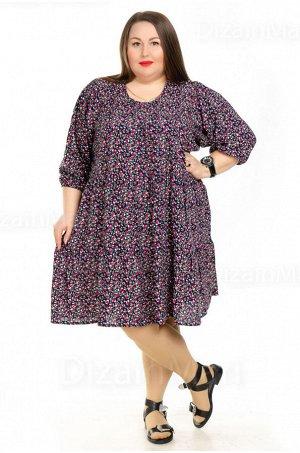 Платье 7204-2 для полных из штапеля в мелкий рисунок