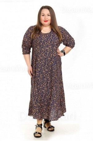 Просторное длинное платье 7701-8 из хлопка для полных