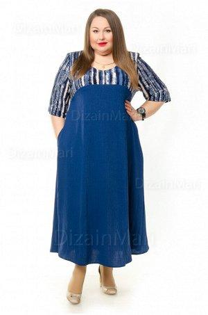 Платье 8618-3 василькового цвета с крупным полосатым принтом