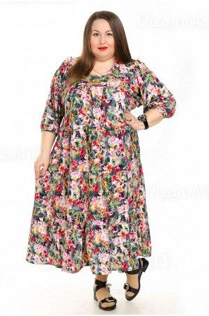 Платье 7203-7 для полных просторного фасона пёстрой расцветки
