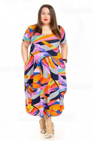 Пёстрое разноцветное платье 3222-2 для полных