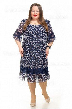 Прямое платье 55760-1 из тёмно-синего в мелкий цветочек шифона
