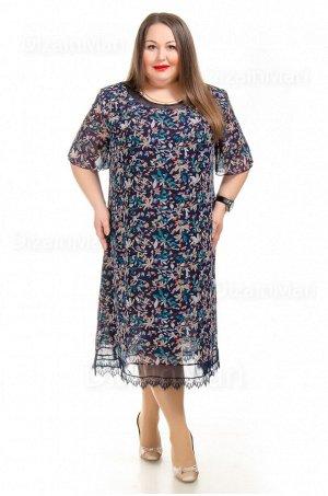 Платье 55759-1 для полных с мелким разноцветным орнаментом