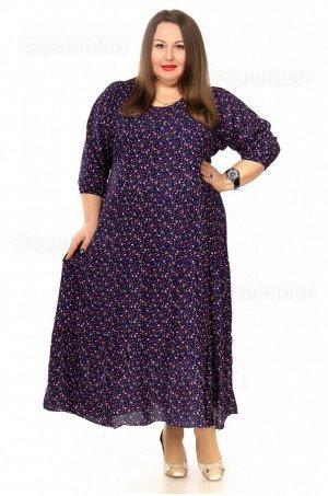Платье 7701-1 для полных женщин из тонкого штапеля