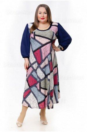 Платье 8604-2 с принтом разноцветной мозаикой
