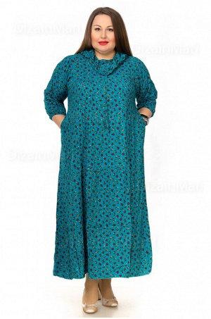 Платье 7202-4 цвета морской волны для полных женщин
