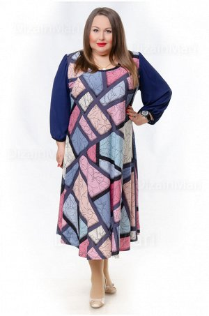 Платье 8604-1 с хаотичным разноцветным узором