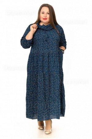 Платье 7202-1 для полных густого тёмно-синего цвета