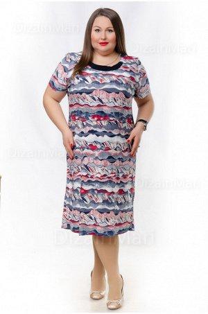 Платье 6266-2 с поперечными полосами с коротким рукавом
