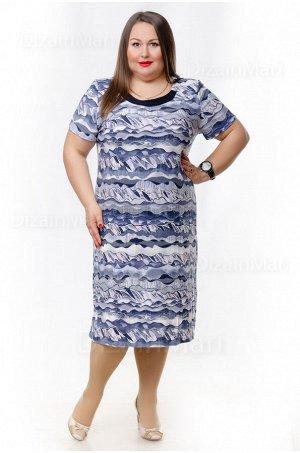 Платье 6266-1 с абстрактным узором в бело-синих тонах