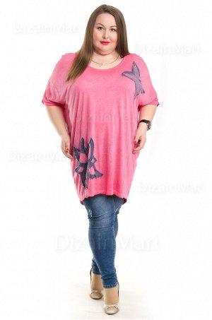 Туника 5010-1 большого размера насыщенно-розового цвета
