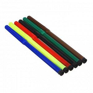 ClipStudio Фломастеры 6 цветов с цветным колпачком, пластик, в ПВХ пенале