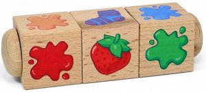 """Кубики деревянные на оси """"Составляем цвета"""" (3 кубика)"""