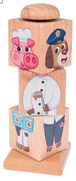 Кубики деревянные на оси Учим профессии
