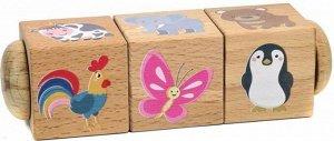 Кубики деревянные на оси Живая природа