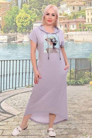 Платье Бренд: Натали ТКАНЬ: кулиркаi СОСТАВ: 100% хлопок Платье женское из кулирки, с капюшоном, с карманами в боковом шве. На полочке пришита аппликация с фотопечатью, бусинками и пайетками. Спинка д