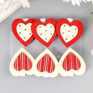 """Прищепки декоративные """"Сердце с узором"""" (набор 6 штук) микс"""