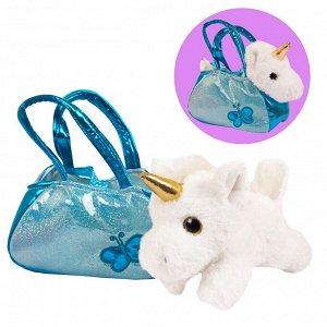 Животные в сумочках. Единорог 16 см игрушка мягкая203
