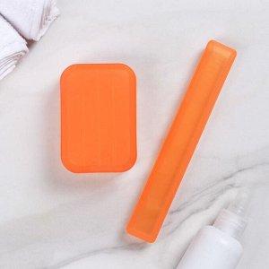 Набор дорожный, 2 предмета: футляр для зубной щётки 19 см, мыльница 10?6?3,5 см, цвет МИКС