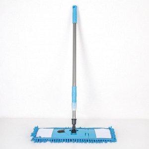 Швабра плоская Доляна, телескопическая стальная ручка 71-119 см, насадка из микрофибры 42?12 см цвет МИКС