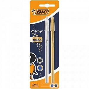 Ручка шариковая BIC Cristal Shine Блистер x2 серебряный, золотой корпус синий, черный