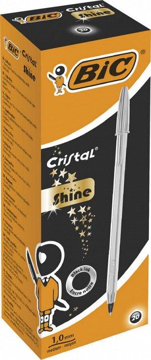 Ручка шариковая BIC Cristal Shine  серебряный корпус черный
