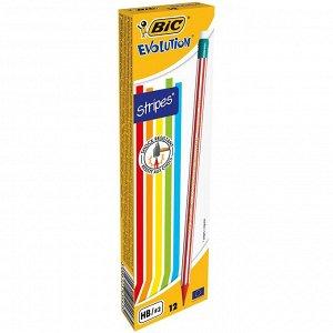 Карандаш чернографитовый BIC Evolution Stripes с ластиком