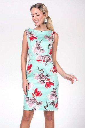Платье Инесса №20. Цвет:мятный/цветы