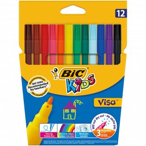 Фломастеры цветные BIC Visa Коробка x12
