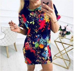 Повседневное платье с короткими рукавами