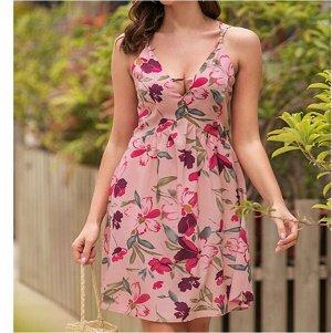 Платье Платье. Материал: Смесь хлопка. Размер: (бюст, длина см) S (88, 63), M (93, 64), L (98, 65), XL (103, 66).
