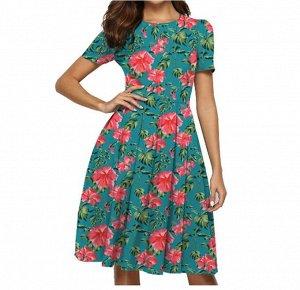 Платье Платье. Материал: Полиэстер. Размер: (бюст. длина см) S (90, 106), M (95, 108), L (102.5, 110), XL (110, 112), 2XL (117.5, 114).