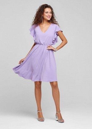 ПЛАТЬЕ ФИАЛКА Стильное платье из нежного креп-шифона в ярких расцветках. V-образный вырез выгодно подчеркнет грудь, а интересные рукава-крылышки и расклешенная юбка сделает образ озорным. Линия талии