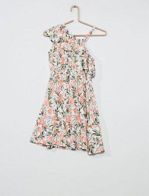 Асимметричное платье в цветочек