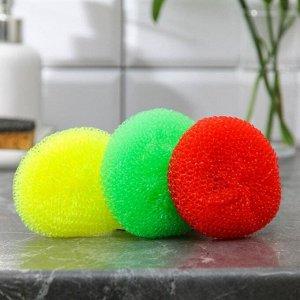 Набор губок для мытья посуды Доляна «Бублик», 3 шт, пластик, цвет МИКС