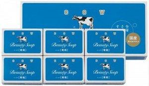 Молочное освежающее туалетное мыло с прохладным ароматом жасмина «Beauty Soap» синяя упаковка (кусок 85 г) ? 6 шт / 24