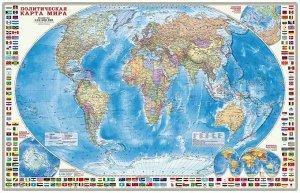 Карта настенная. Мир Политический с флагами. М1:24 млн. 124х80 см. ЛАМ ГЕОДОМ