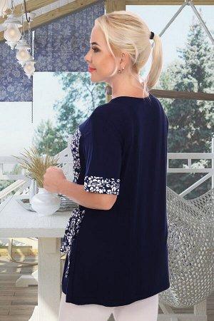 Блуза Бренд: Натали Ткань: вискоза, масло Состав: 92% вискоза, 8% лайкра; 92% п/э, 8% лайкра Блуза женская из нежного масла и вискозы комбинированная, пояс-завязки, манжет на рукавах