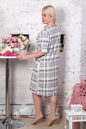 Платье Бренд: Натали Ткань: кулирка Состав: хлопок 100% Платье женское домашнее с коротким рукавом. Данная модель выполнена из трикотажного полотна (кулирка). Ткань выполнена по итальянской технологии