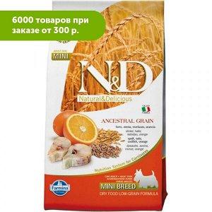 Farmina N&D Low Grain Cod & Orange Adult Mini сухой низкозерновой корм для собак мелких пород Спельта/Овес/Треска/Апельсин 800гр