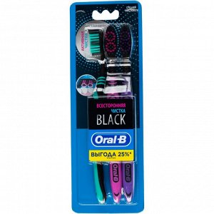 ORAL_B Зубная щетка Всесторонняя чистка Black 40 Medium 3шт