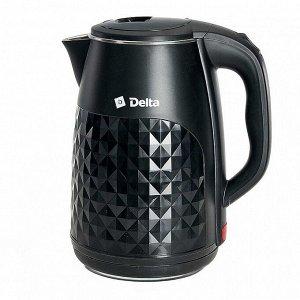 Чайник электрический 2000 Вт, 2,5 л DELTA DL-1103, двухслойный корпус, черный