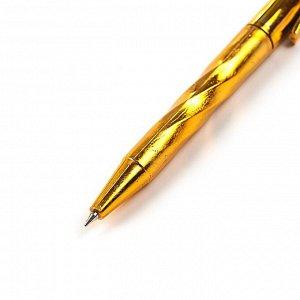 Набор ручек шариковых, 4 шт., автоматические, «Спираль», корпус золото-серебро, стержень синий