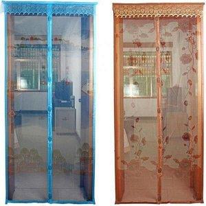Москитная сетка с вшитыми магнитами и вставками, с рисунком 100х210см