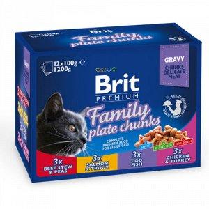 Brit Premium набор паучей 100гр д/кош Ассорти Семейное (12шт)