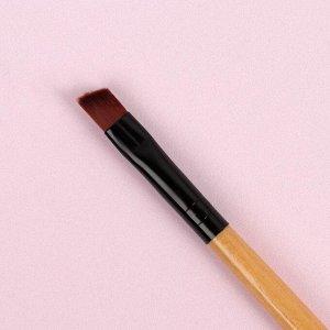 Кисть для макияжа, скошенная, 18 см, цвет бежевый