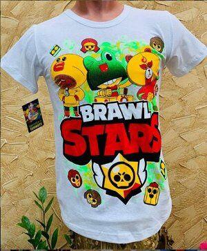 Супер светящаяся футболка «Brawl stars» белая